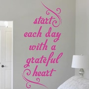 SweetumsWallDecals Sart Each Day with a Grateful Heart Wall Decal; Hot Pink