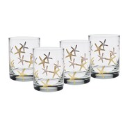Culver Gold 22k Starfish 14 Oz. Double Old Fashion Glasses (Set of 4)