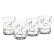 Culver Gold 22k Anchors 14 Oz. Double Old Fashion Glasses (Set of 4)