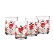 Culver Gold 22k Crab 14 Oz. Double Old Fashion Glasses; Red