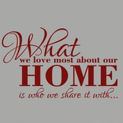 SweetumsWallDecals What We Love Most About Our Home Wall Decal; Cranberry