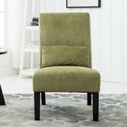 Roundhill Furniture Pisano Chenille Fabric Slipper Chair; Green