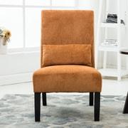 Roundhill Furniture Pisano Chenille Fabric Slipper Chair; Orange
