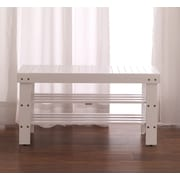 Roundhill Furniture Solid Wood Entryway Bench; White
