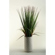 D & W Silks 32'' Onion Grass in Ceramic Decorative Vase