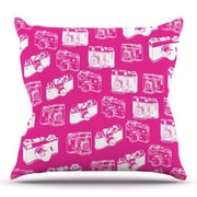 KESS InHouse Camera Pattern by KESS InHouse Outdoor Throw Pillow; Pink