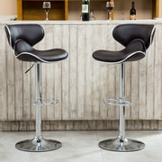 Roundhill Furniture Adjustable Height Swivel Bar Stool (Set of 2); Brown