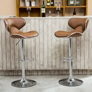 Roundhill Furniture Adjustable Height Swivel Bar Stool (Set of 2); Camel