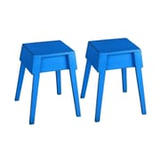 UtopiaAlley Color Distressed Rustic Wood Stool (Set of 2); Blue