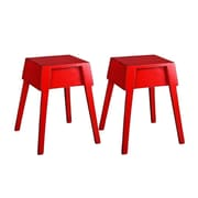 UtopiaAlley Color Distressed Rustic Wood Stool (Set of 2); Red