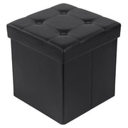 Songmics Cube Folding Storage Ottoman; Black
