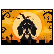 Caroline's Treasures Halloween Smooth Black and Tan Dachshund Mat; 1'6'' x 2'3''