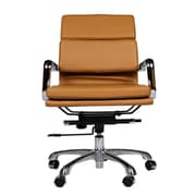 Joseph Allen Mid-Back Leather Executive Office Chair with Arm (Set of 4); Brown