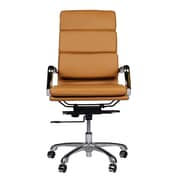 Joseph Allen High-Back Leather Executive Office Chair with Arm (Set of 4); Brown