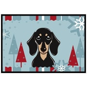 Caroline's Treasures Winter Holiday Smooth Black and Tan Dachshund Mat; 1'6'' x 2'3''