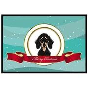 Caroline's Treasures Smooth Black and Tan Dachshund Merry Christmas Mat; 1'6'' x 2'3''