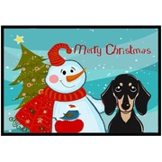 Caroline's Treasures Snowman with Smooth Black and Tan Dachshund Mat; 1'6'' x 2'3''