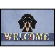Caroline's Treasures Smooth Black and Tan Dachshund Welcome Mat; 1'6'' x 2'3''