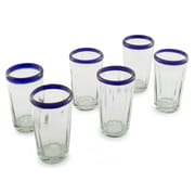 Novica The Javier and Efren Juice Glass (Set of 6); Cobalt Blue