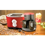 Ovente 2 Cup Coffee Maker with 2-Slice Toaster; Matte Red