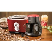 Ovente 2 Cup Coffee Maker with 2-Slice Toaster; Metallic Red
