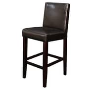 Monsoon Pacific Villa 26'' Bar Stool with Cushion (Set of 2); Dark Brown Faux Leather