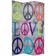 Oriental Furniture 71.25'' x 47.25'' Double Sided Peace and Love 3 Panel Room Divider