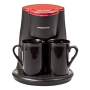 Ovente 4 Piece 2-Serving Coffee Maker Set; Red