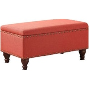 HomePop Filander Upholstered Storage Entryway Bench; Red