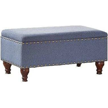 Homepop Filander Upholstered Storage Entryway Bench Cerulean Blue Staples