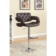 Hokku Designs Lesticia Adjustable Height Swivel Bar Stool with Cushion; Dark Brown
