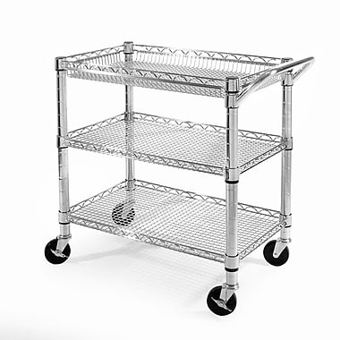Seville Classics UltraZinc 3 Shelf NSF Commercial Steel Wire Utility Cart
