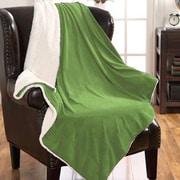 American Asia Mills Mink Sherpa Throw Blanket; Sage