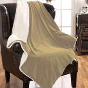 American Asia Mills Mink Sherpa Throw Blanket; Camel
