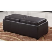 WorldWide HomeFurnishings Double Tray Storage Ottoman; Brown