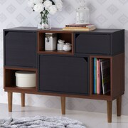 Wholesale Interiors Anderson Retro Oak and Espresso Wood Sideboard Storage Cabinet