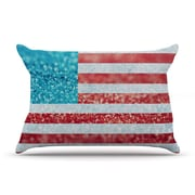 KESS InHouse White and Glitter by Beth Engel Featherweight Pillow Sham, Flag