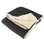 American Asia Mills Mink Sherpa Throw Blanket; Black