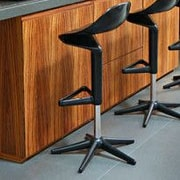 Bienal Spoon Adjustable Height Bar Stool (Set of 2); Black