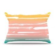 KESS InHouse Painted Stripes Peach by Anneline Sophia Cotton Pillow Sham