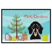 Caroline's Treasures Christmas Tree and Smooth Black and Tan Dachshund Mat; 1'6'' x 2'3''