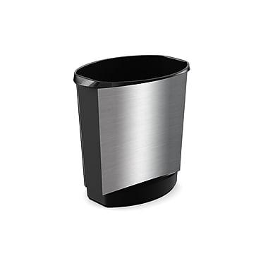 Kis Ovo Vanity Series Waste Basket, 14L, Plastic Stainless Steel Finish, (29052E)