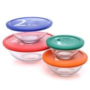 Pyrex Smart Essentials 4 Piece Mixing Bowl w/ Colored Lid Set