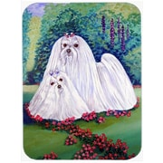 Caroline's Treasures Maltese and Puppy Garden Beauties Glass Cutting Board