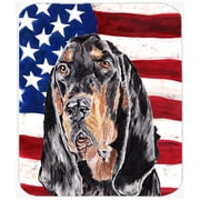 Caroline's Treasures Patriotic Coonhound USA American Flag Glass Cutting Board