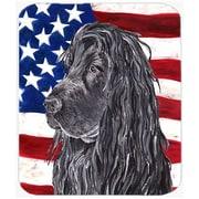 Caroline's Treasures Patriotic Cocker Spaniel Black USA American Flag Glass Cutting Board