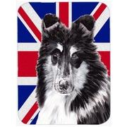 Caroline's Treasures Union Jack Collie w/ English British Flag Glass Cutting Board