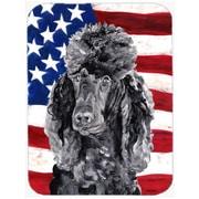 Caroline's Treasures Patriotic Standard Poodle w/ American Flag USA Glass Cutting Board