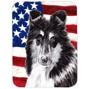 Caroline's Treasures Patriotic Collie with American Flag USA Glass Cutting Board