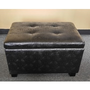 NOYA USA Classic Crocodile Storage Ottoman; Black